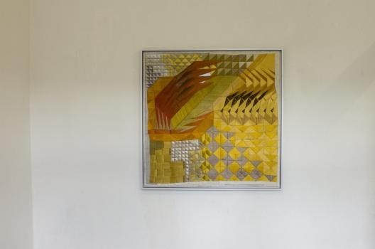 Ohne Titel / 2015 / Stickerei auf Edelstahl und Baumwolle, Aluminium, 90 x 90 cm