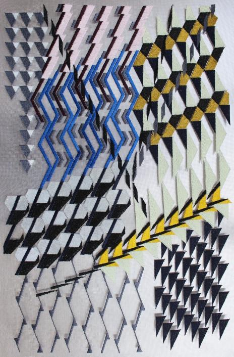 Ohne Titel / 2015 / Maschinenstickerei auf Edelstahl, Aluminium / 49 x 33 cm