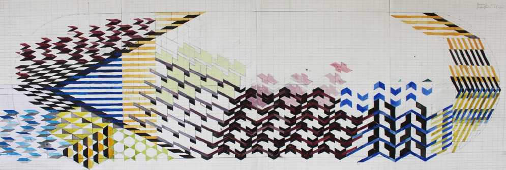 Diplomentwurf / 2014 / Aquarell / 96 x 32 cm